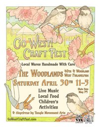 Tangle's tinycircus trapeze featured on poster for Go West! Craft Fest by Sarah Ryan