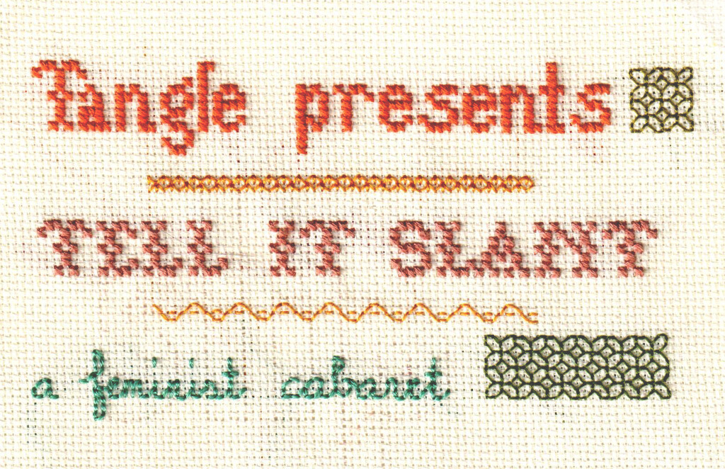 Tell It Slant: Sampler embroidery by Sal Nicolazzo